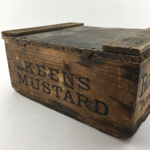 Keens Mustard and Robinsons Groats wooden crate
