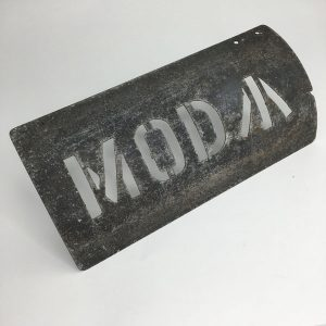 large aluminium Cold War era MOD curved stencil