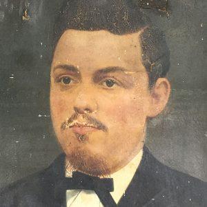 Antique overpainted portrait of a gentleman with a moustache