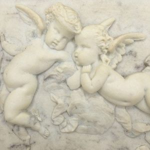 framed alabaster relief plaque with putti