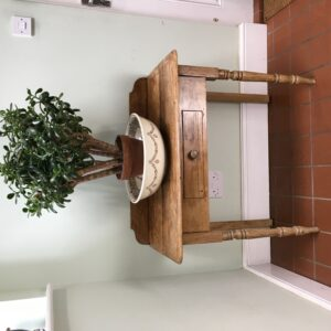 Antique pine side table with single frieze drawer - 19th Century - front view with plant